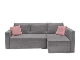 Universaalne pehme nurgadiivan Kris II Lux, hall/roosa