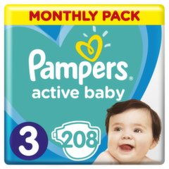 Mähkmed PAMPERS Active Baby-Dry, Monthly Box, suurus 3, 6-10kg, 208 tk