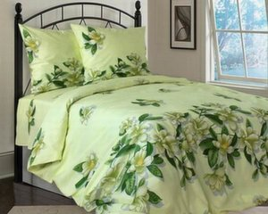 Voodipesukomplekt, rohelised lilled rohelisel taustal, Double 3 osaline (220x200cm)
