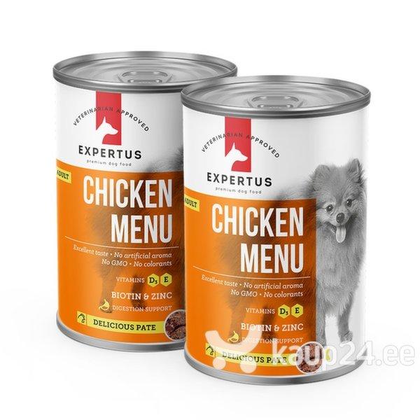 Konserv koertele Expertus kanalihaga Chicken Menu, 400 g 1+1