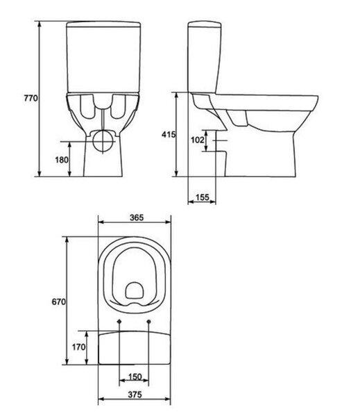 Põrandale paigaldatav WC-pott Cersanit City Clean On vaikselt sulguva kaanega tagasiside