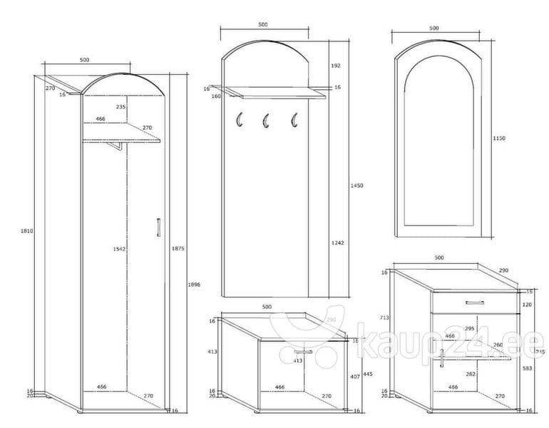 Комплект мебели для прихожей II, коричневый
