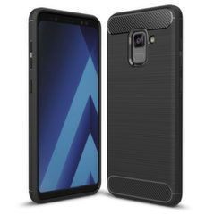 5d282911b82 Carbon Case Flexible Cover TPU Case for Samsung Galaxy A8 2018 A530 black  (Black)