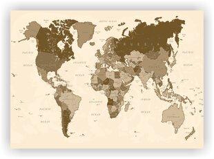 Korgist pilt - Maailma kaart nööpnõeltega Pruun. [korgist kaart], 90x60 cm. hind ja info | Seinapildid | kaup24.ee
