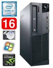Lauaarvuti Lenovo ThinkCentre M82 SFF i3-2120 16GB 2TB GT710 2GB WIN7Pro