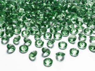Konfett kristallid Diamond, 12 mm, roheline, 1 karp/30 pk (1 pk/100 tk)