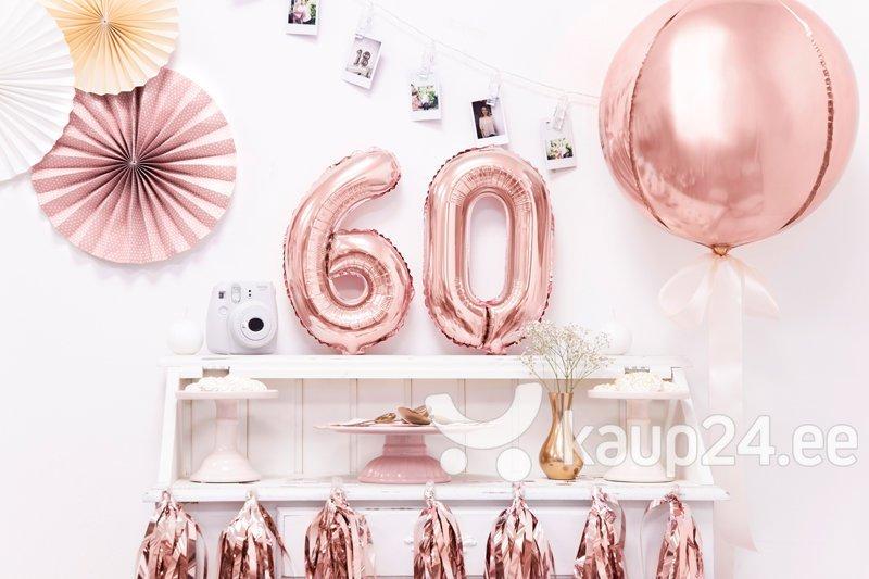 """Fooliumist õhupall Number """"6"""", 35 cm, roosa/kuldne, 50 tk. Internetist"""
