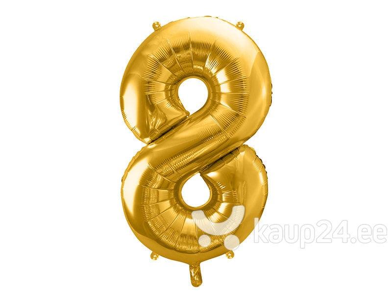 """Fooliumist õhupall Number """"8"""", 86 cm, kuldne, 50 tk."""