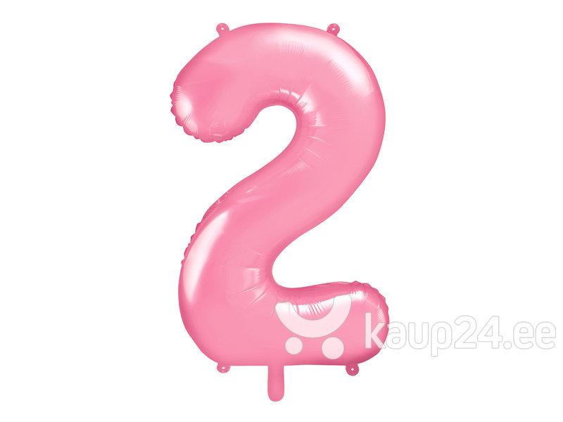 """Fooliumist õhupall Number """"2"""", 86 cm, roosa"""