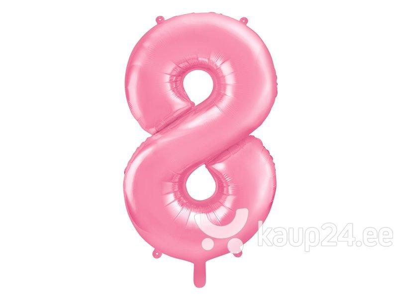 """Fooliumist õhupall Number """"8"""", 86 cm, roosa"""
