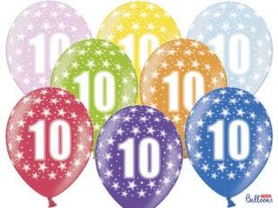 Õhupallid 30 cm 10th Birthday Metallic, erinevad värvid, 6 tk.