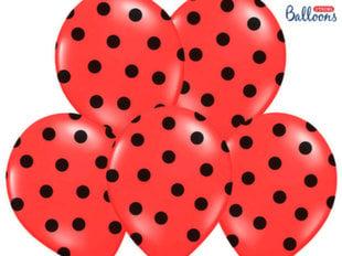 Õhupallid 30 cm Dots Pastel Poppy, punane, 6 tk.