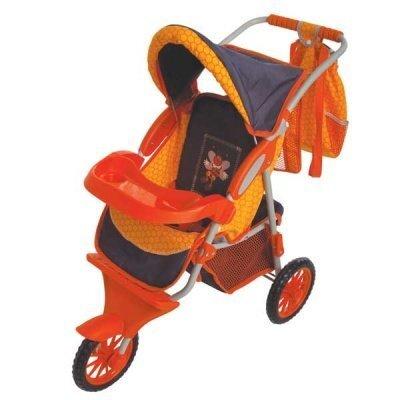 3-колесная коляска для кукол (оранжевая), с подсвеченным логотипом пчелы. цена и информация | Tüdrukute mänguasjad | kaup24.ee