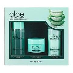 Niisutav näohooldustoodete komplekt Holika Holika Aloe Soothing Essence: näotoonik 50 ml + näokreem 20 ml + näoemulsioon 50 ml