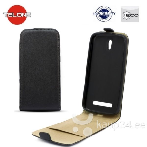 Kaitseümbris Telone Shine Pocket Slim Flip / Apple iPhone 5, 5S, Must