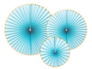 Paberist dekoratiivsed rosetid Yummy, sinine, 1 pakk/3 tk hind ja info | Peokaunistused | kaup24.ee