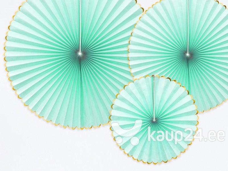 Бумажные подвесные украшения-веера Yummy, мятного цвета, 1 кор/50 упак (1 упак/3 шт)