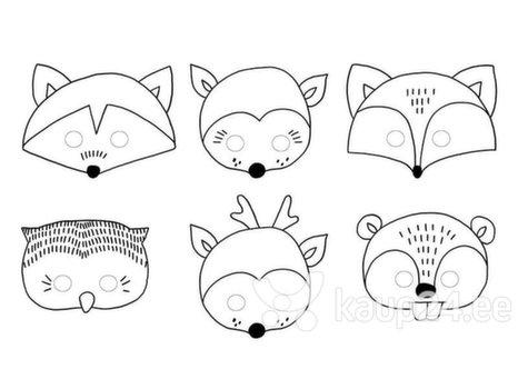 Бумажные маски для лица для раскраски Woodland Mix, 1 коробка/50 упаковок (1 упаковка/6 штук)