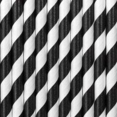 Бумажные соломинки, черно-белые, 19,5 см, 1 упаковка/10 штук