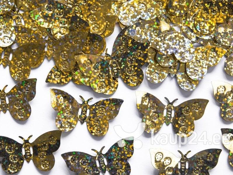 Голографические конфетти Бабочка, золотые, 2,1x3x8 см, 1 коробка / 125 упаковок (1 упаковка / 15g)