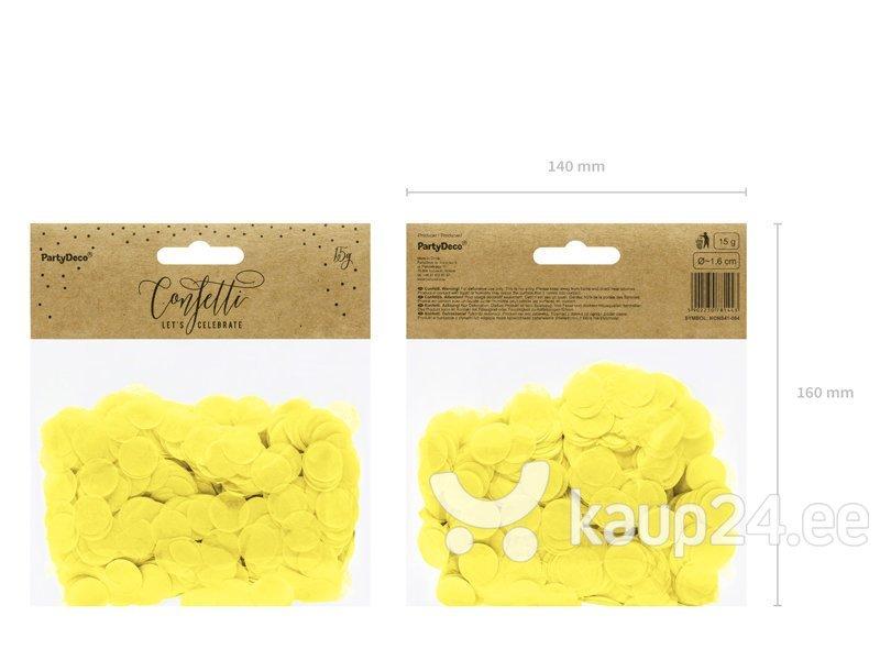 Конфетти Кружочки, желтые, 1,6 см, 1 коробка / 50 упаковок (1 упаковка / 15 г)