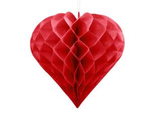 Подвесная декорация Сердце, красная, 20 см, 1 шт