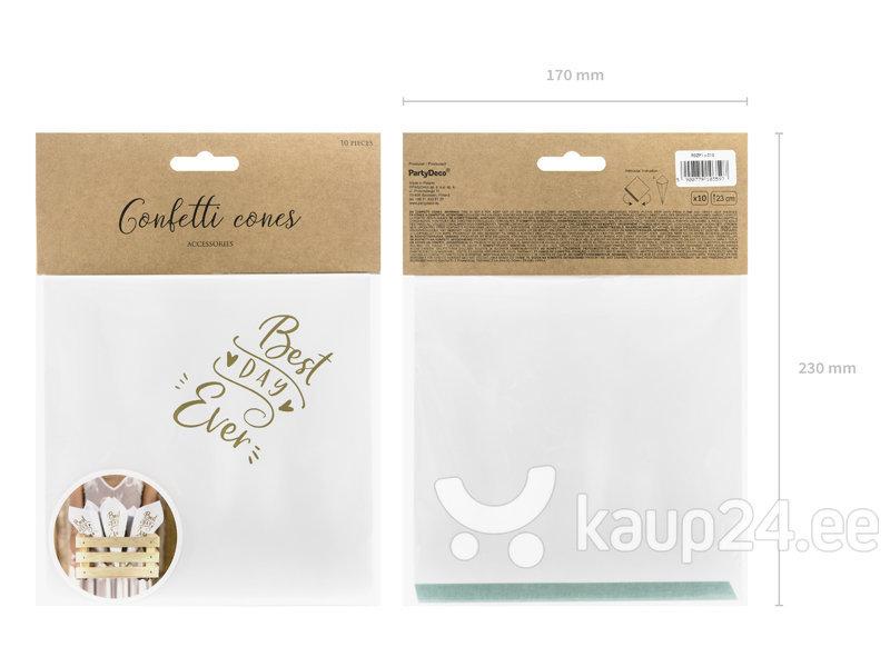 Конфетти в форме конуса для рассыпания, белого и золотого цвета, 16 см, 1 коробка/60 упаковок (1 упаковка/10 шт)