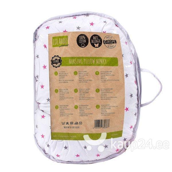 Подушка для грудного вскармливания LULANDO Minky, Gray / Stars pink-gray