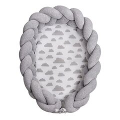 Beebipesa Lulando Braid Welur, Gray / Gray clouds on white