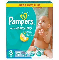 Памперсы PAMPERS ActiveBaby, MB+, размер 3, 174 шт.