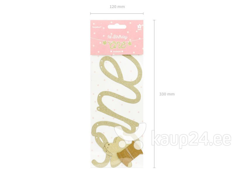 Vanik 1st Birthday One, kuldne, 12x50 cm, 1 pakk/1 tk Internetist