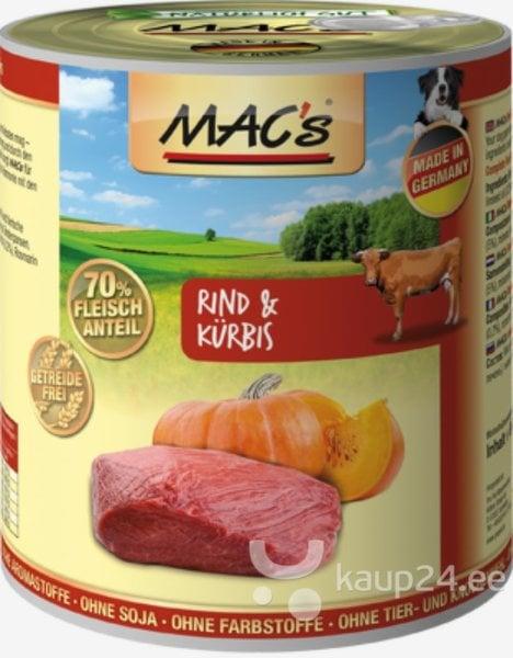 Koerakonserv Mac's Dog Beef & Pumpkin 800 g