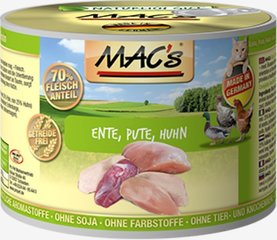 Mac's Duck, Turkey, Chicken 400 g hind ja info | Konservid kassidele | kaup24.ee