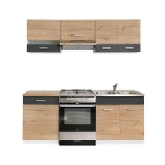 Köögikappide komplekt MILA, hall/tamme värv hind ja info | Köögikappide komplekt MILA, hall/tamme värv | kaup24.ee
