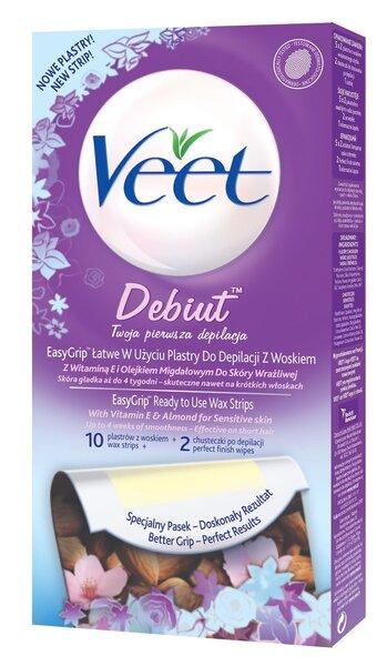 Depileerimisvaharibad Veet Cold Wax Strips Debut 10 tk цена и информация | Depileerimisvahendid | kaup24.ee