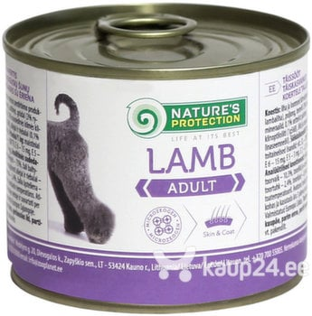 Konserv koertele Nature's Protection Dog Adult Lamb lambalihaga, 200g