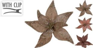 Рождественская декорация с клипсой Цветок 20 см, коричневая