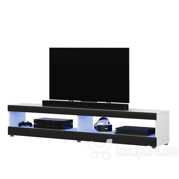 TV laud Selsey Dean LED 140 cm, valge/must