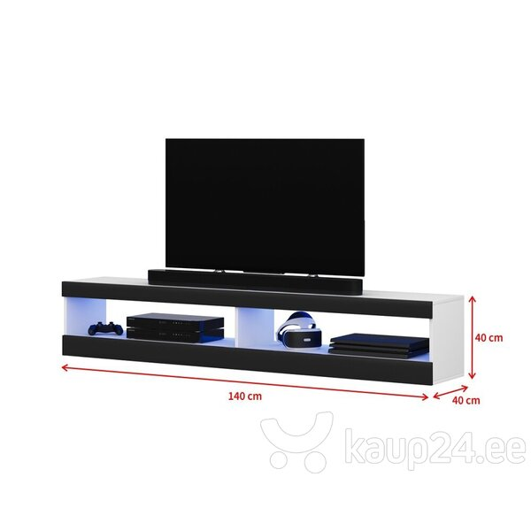 TV laud Selsey Dean LED 140 cm, valge/must tagasiside