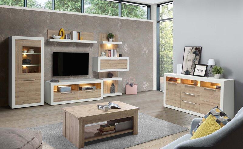 ТВ столик Forte Teimlo, белый/коричневый