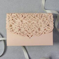 Приглашения - открытки, 5 шт., персиковый цвет