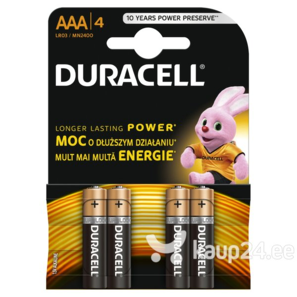 Patareid DURACELL MN2400 4 tk AAA LR03 Copper and Black