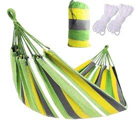 Topelt võrkkiik köitega, 150x200 cm, kollane/roheline hind ja info | Võrkkiiged | kaup24.ee