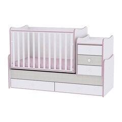 Растущая детская кроватка с комодом Lorelli Maxi Plus New, 110x62, белая/светло-розовая цена и информация | Растущая детская кроватка с комодом Lorelli Maxi Plus New, 110x62, белая/светло-розовая | kaup24.ee