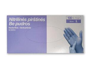 Ühekordsed nitriilkindad 100 tk, värv sinine, suurus L hind ja info | Esmaabi | kaup24.ee