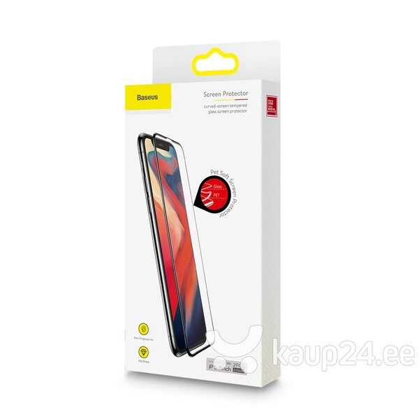 Baseus 0.23mm curved-screen tempered glass screen protector with crack-resistant edges For iPX/XS Black (SGAPIPH58-APE01)