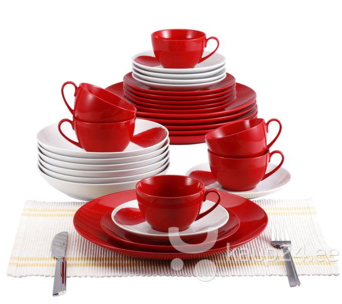 Keraamiline lauanõude komplekt Blaumann, valge/punane BL-2038-2 цена и информация | Lauanõud ja kööginõud | kaup24.ee