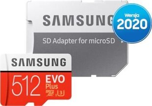 Samsung EVO PLUS 512GB MicroSD adapteriga (MB-MC512HA/EU) hind ja info | Samsung EVO PLUS 512GB MicroSD adapteriga (MB-MC512HA/EU) | kaup24.ee