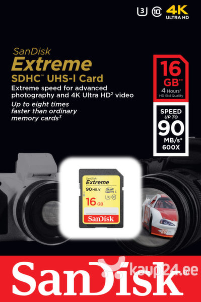 Mälukaart SANDISK 16GB Extreme SDHC Card 90MB/s Class 10 UHS-I U3
