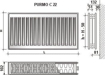 Keskkütteradiaator PURMO C 22, 600-1200 mm hind